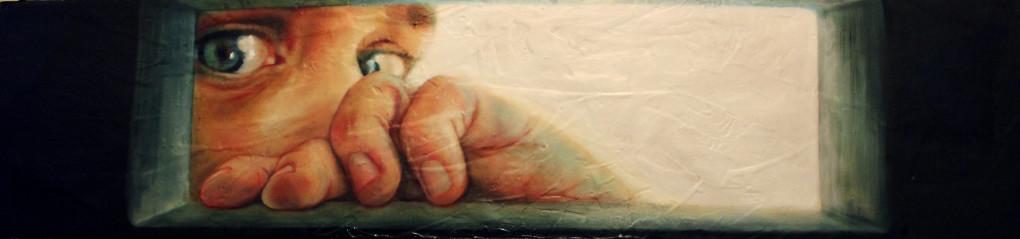 Rivedo ma non ritratto, 2015, olio su supporto misto, 240 x 60 cm